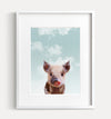 Baby Pig with Blue Sky Printable Art