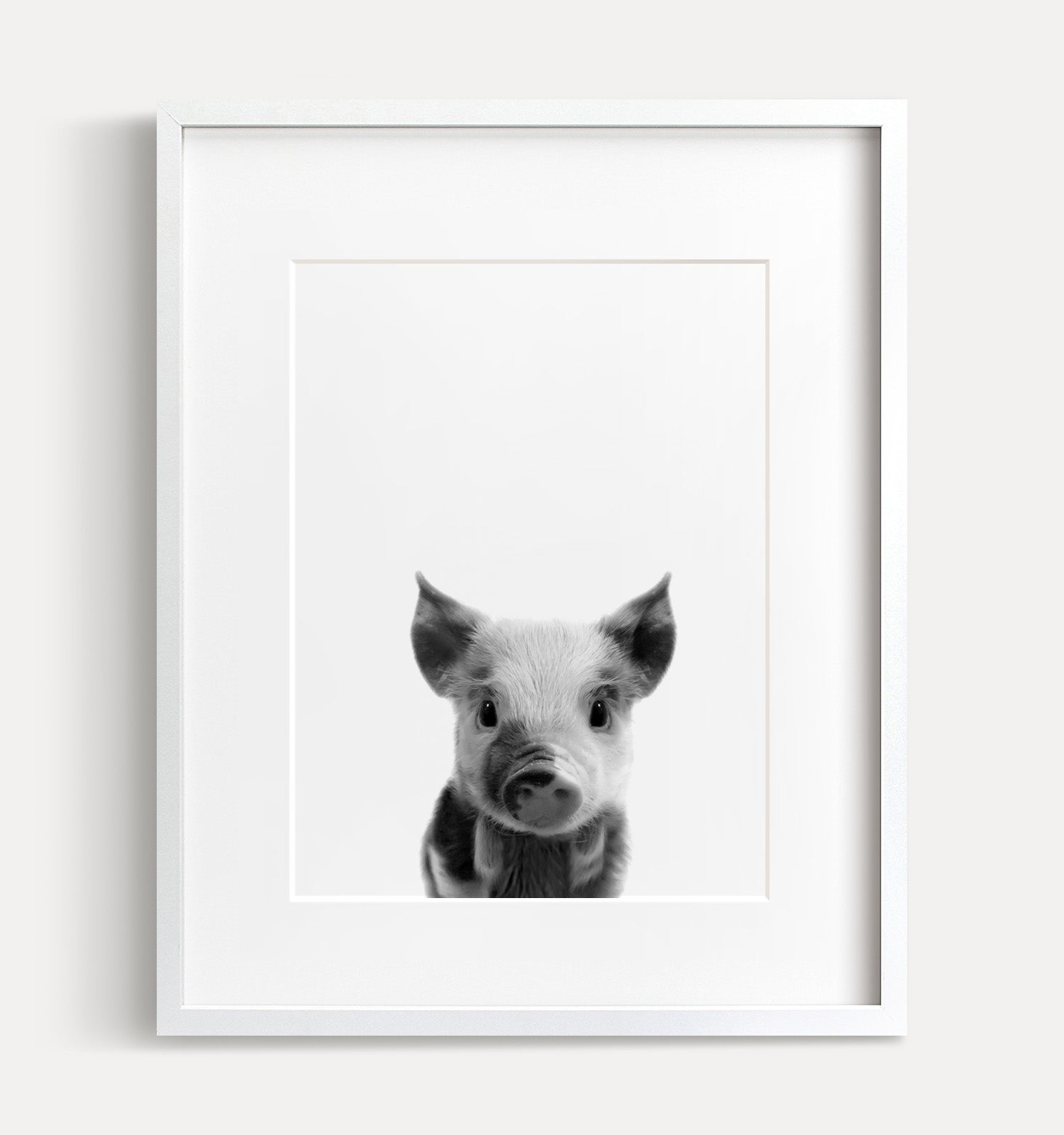 Baby Pig Printable Art - Black and White
