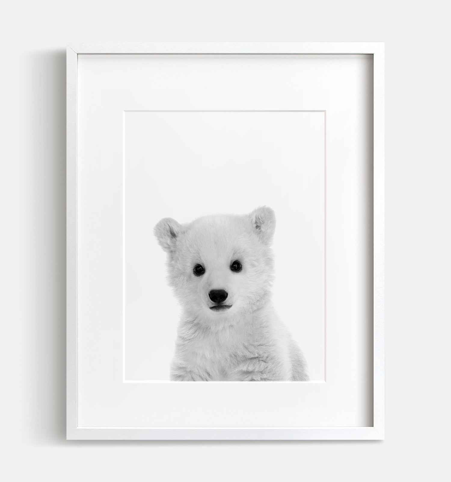 Baby Polar Bear Print Black And White The Crown Prints