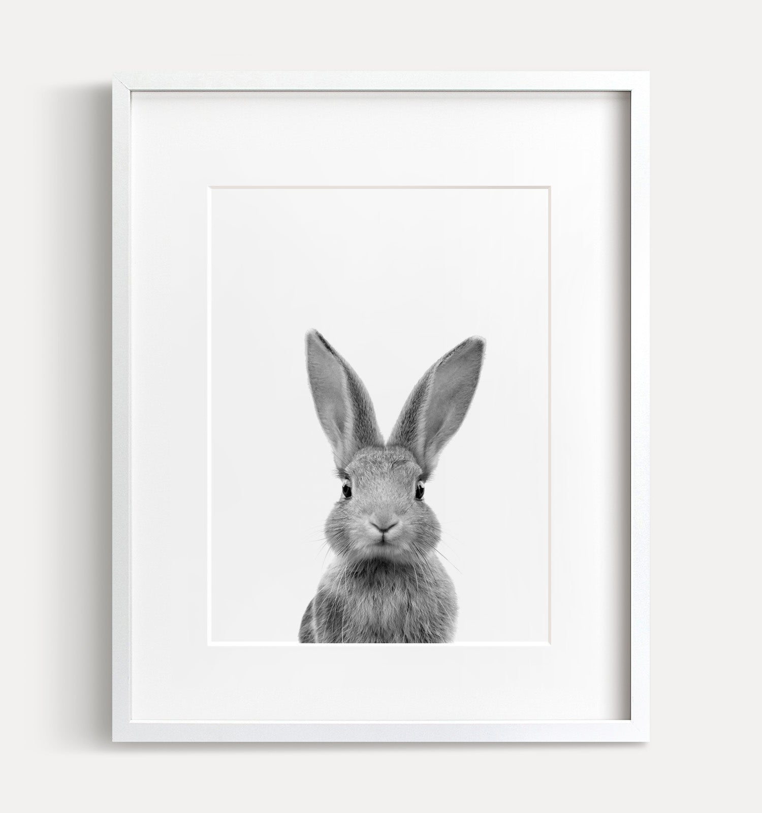 Baby rabbit printable art black and white