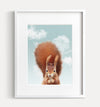 Baby Red Squirrel with Blue Sky Printable Art