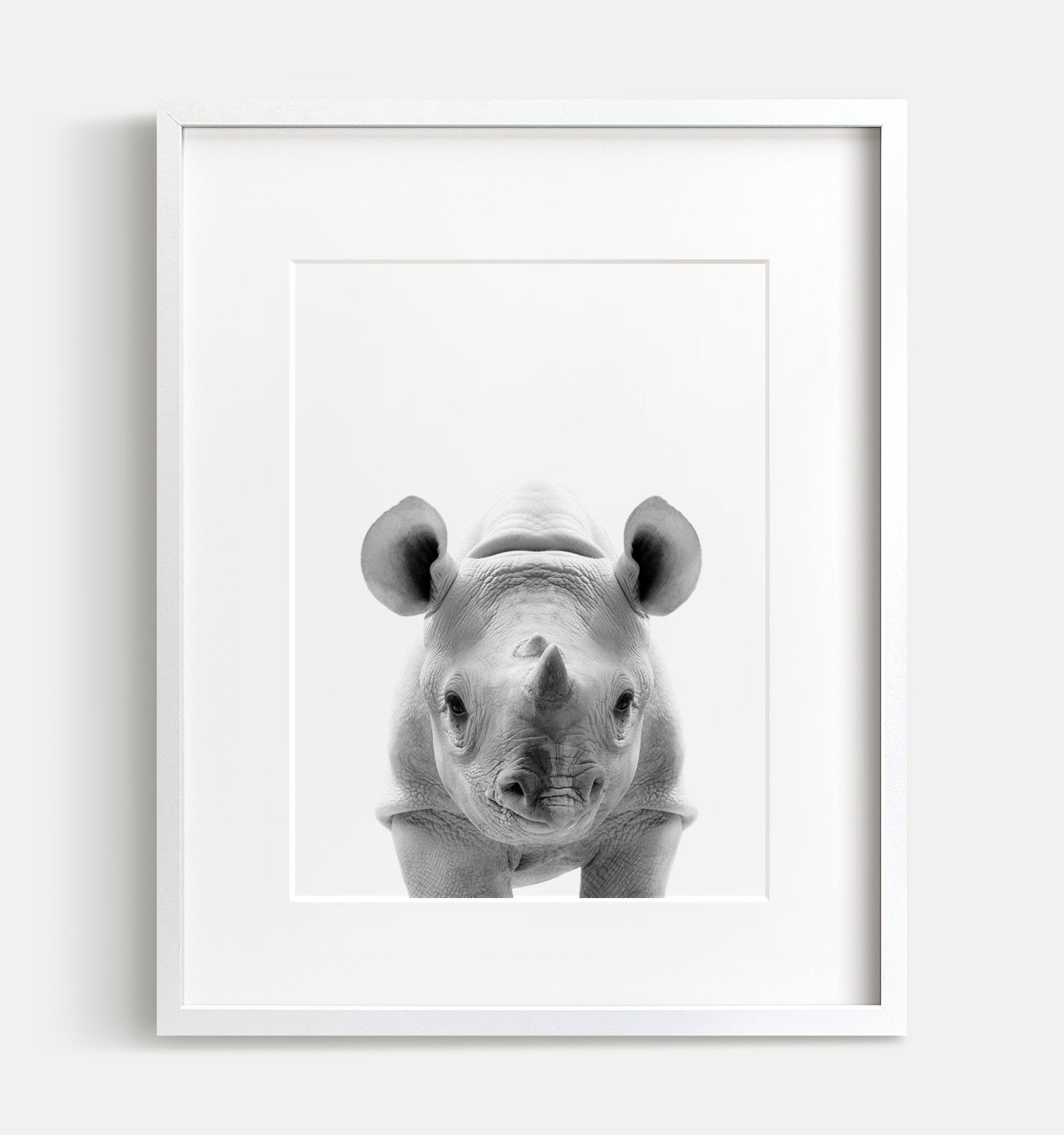 Baby Rhino Black and White Printable Art