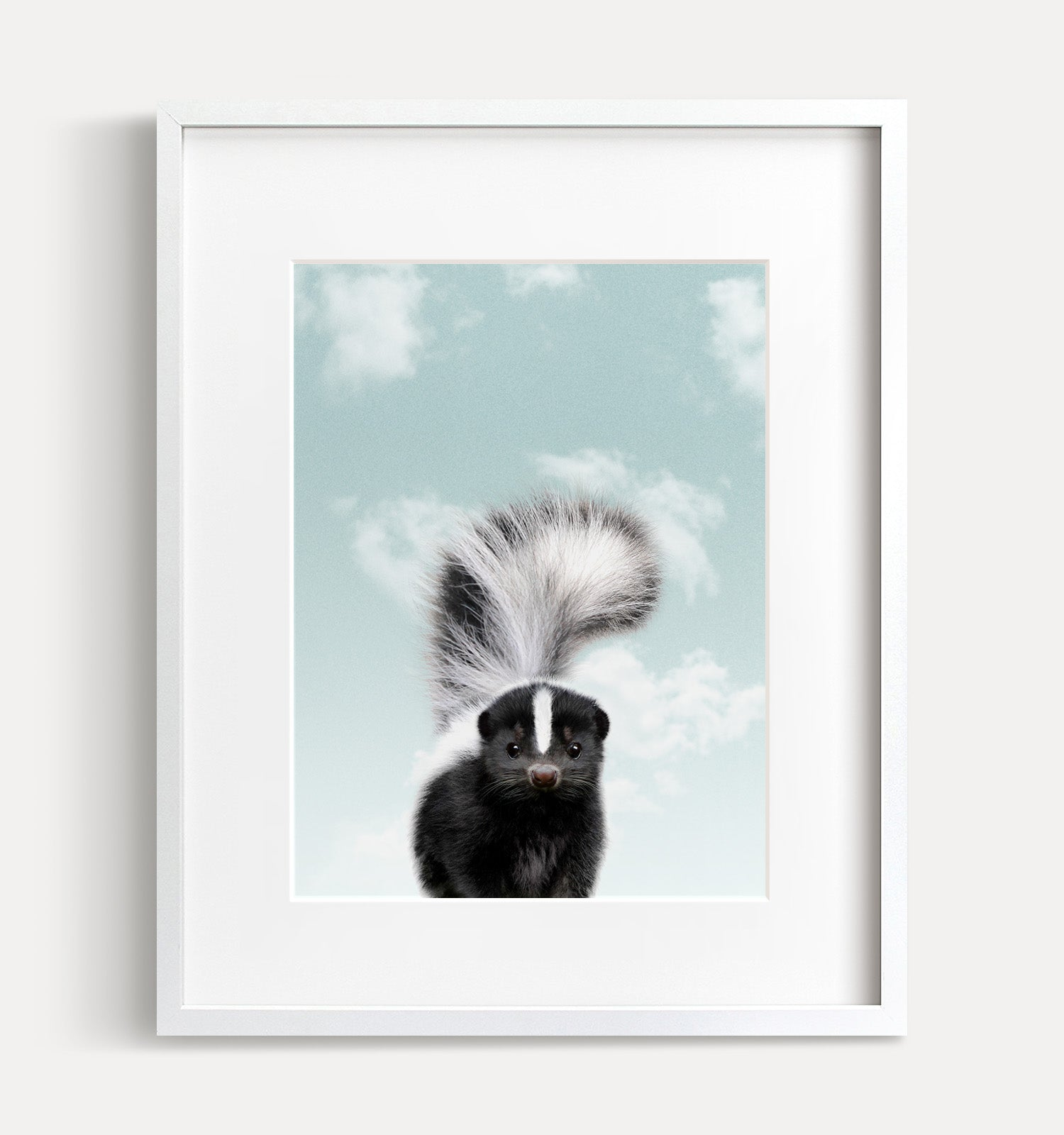 Baby Skunk with Blue Sky Printable Art