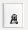 Baby Sloth Black and White Printable Art