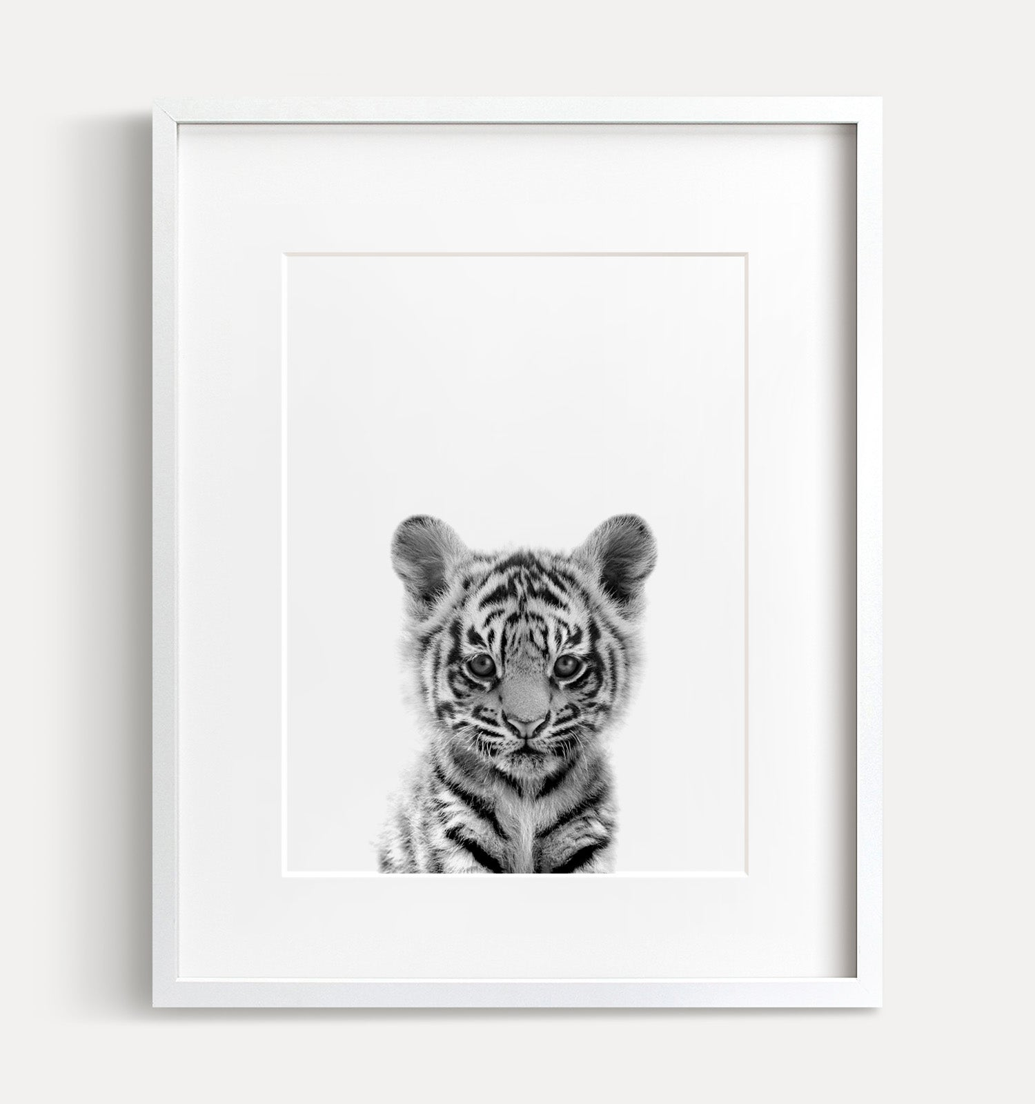 Baby tiger printable art black and white