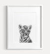 Baby Tiger No. 2 Black and White Printable Art