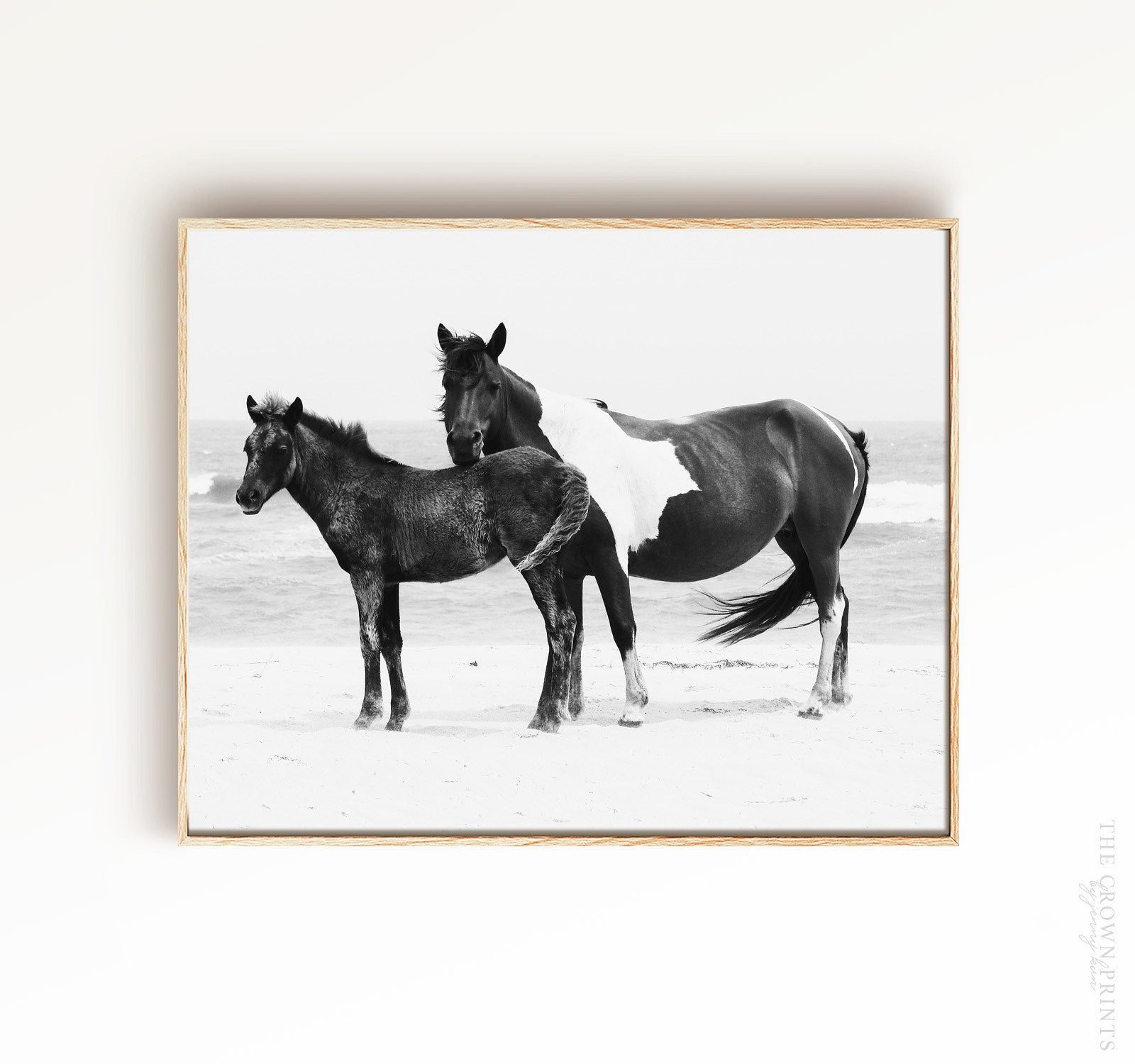 Black & White Mare and Foal Printable Art