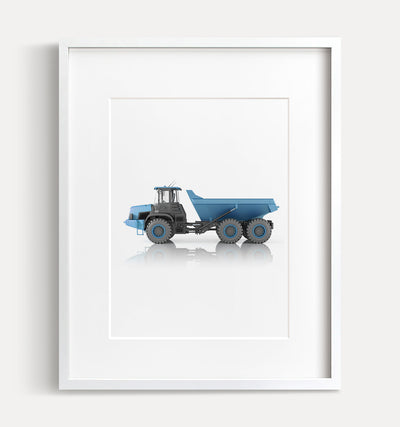 Blue Dump Truck Printable Art - Vertical