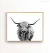 Highland Cow No. 3, Black and White Printable Art