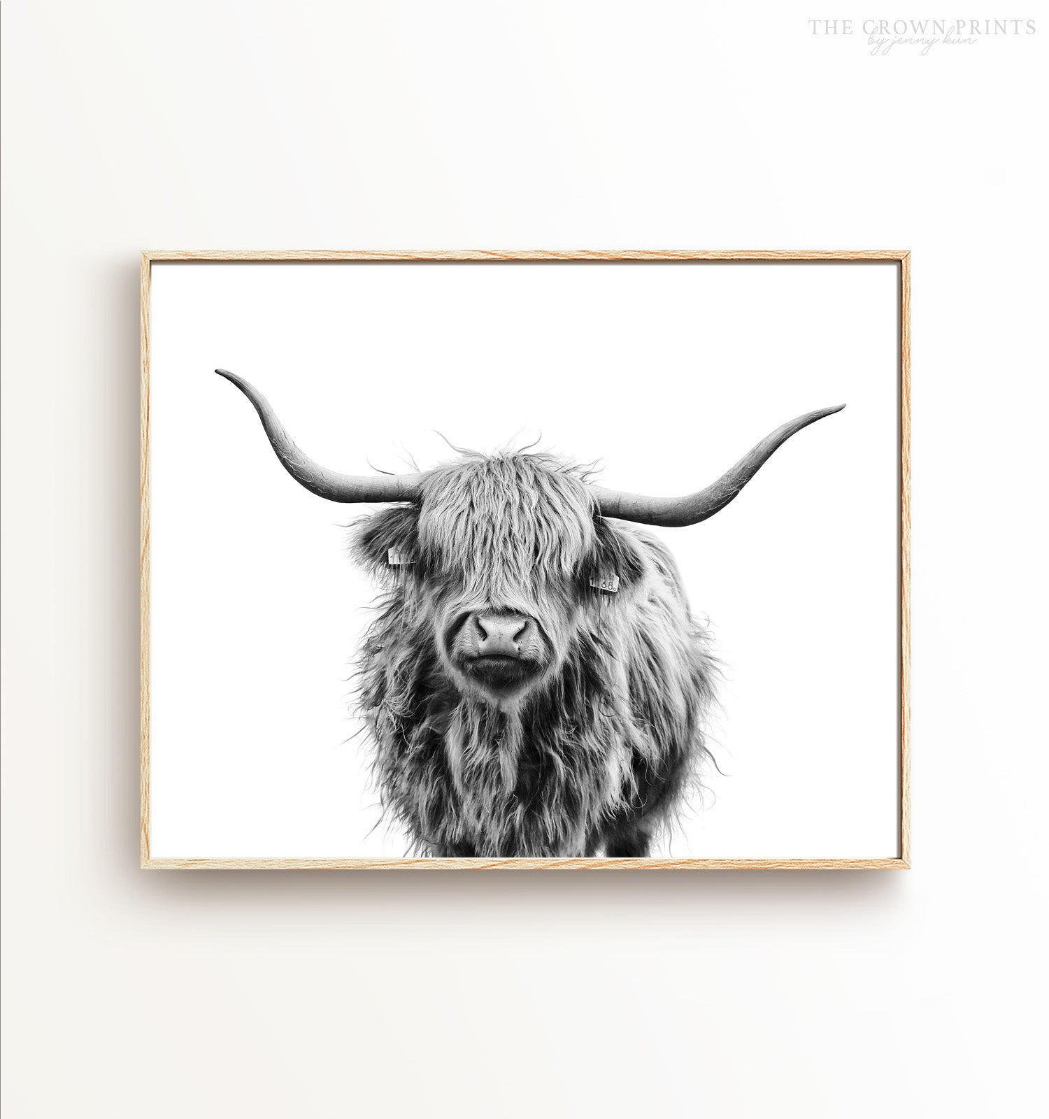 Highland Cow No 3 Black And White Printable Art The Crown Prints