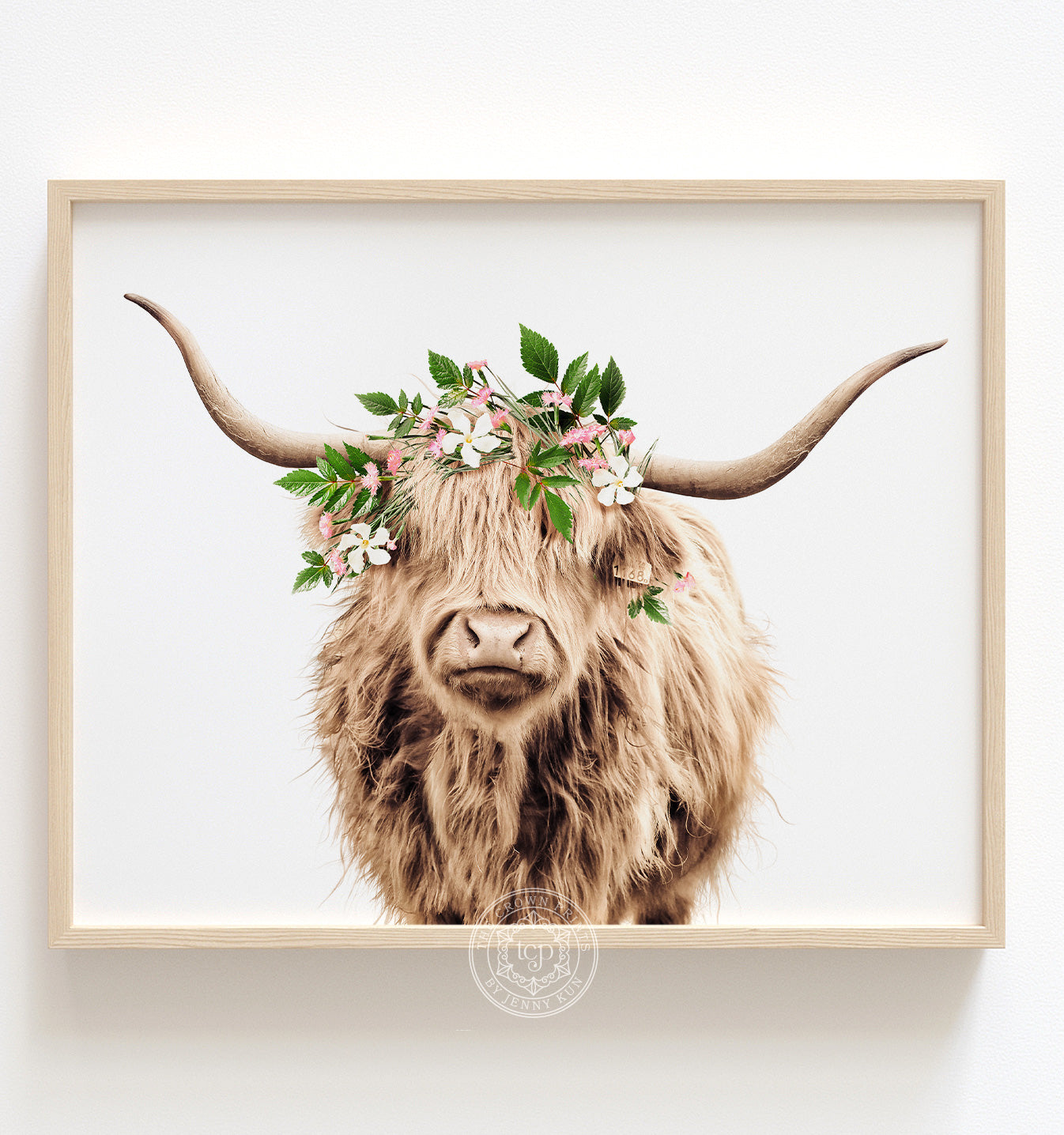 Highland Cow with Flower Crown and White Background Printable Art