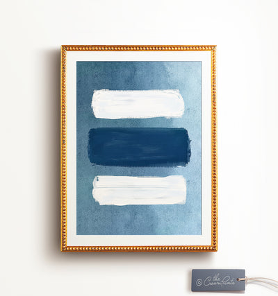 Indigo Abstract Brushstrokes Printable Art