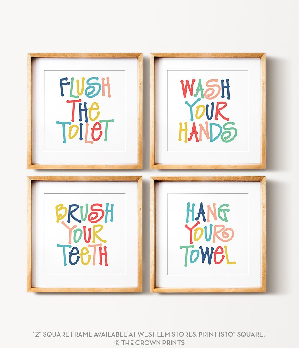 Kids' Bathroom Rules Print Set - The Crown Prints