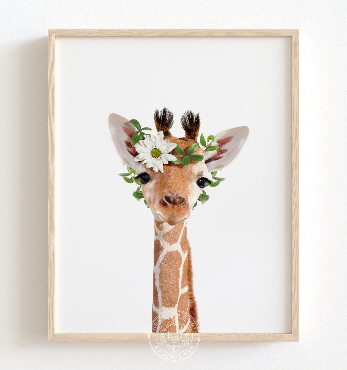 Baby Giraffe with Flower Crown Printable Art