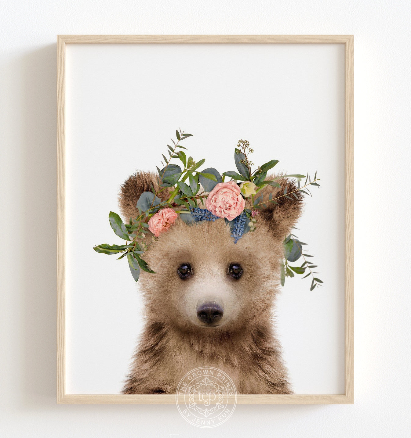 Baby Grizzly Bear with Flower Crown Printable Art