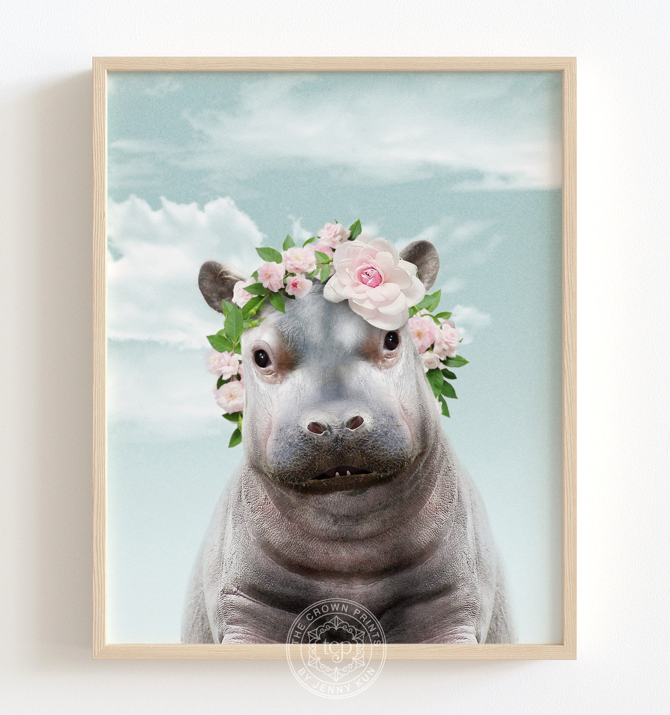 Baby Hippo with Flower Crown and Blue Sky Poster