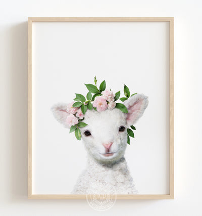 Baby Lamb with Flower Crown Printable Art