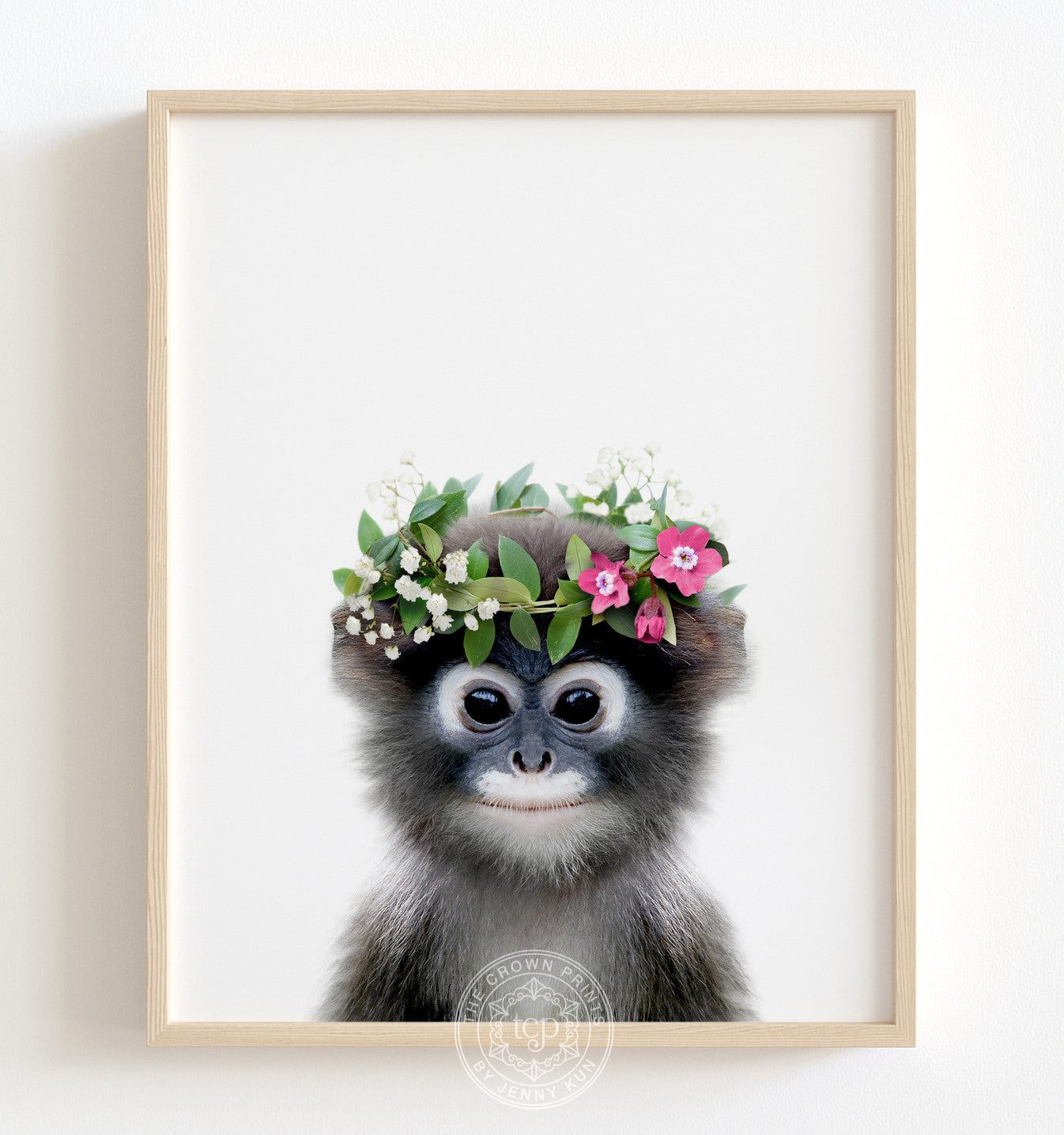 Baby Monkey with Flower Crown Printable Art