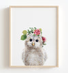 Baby Owl with Flower Crown Printable Art