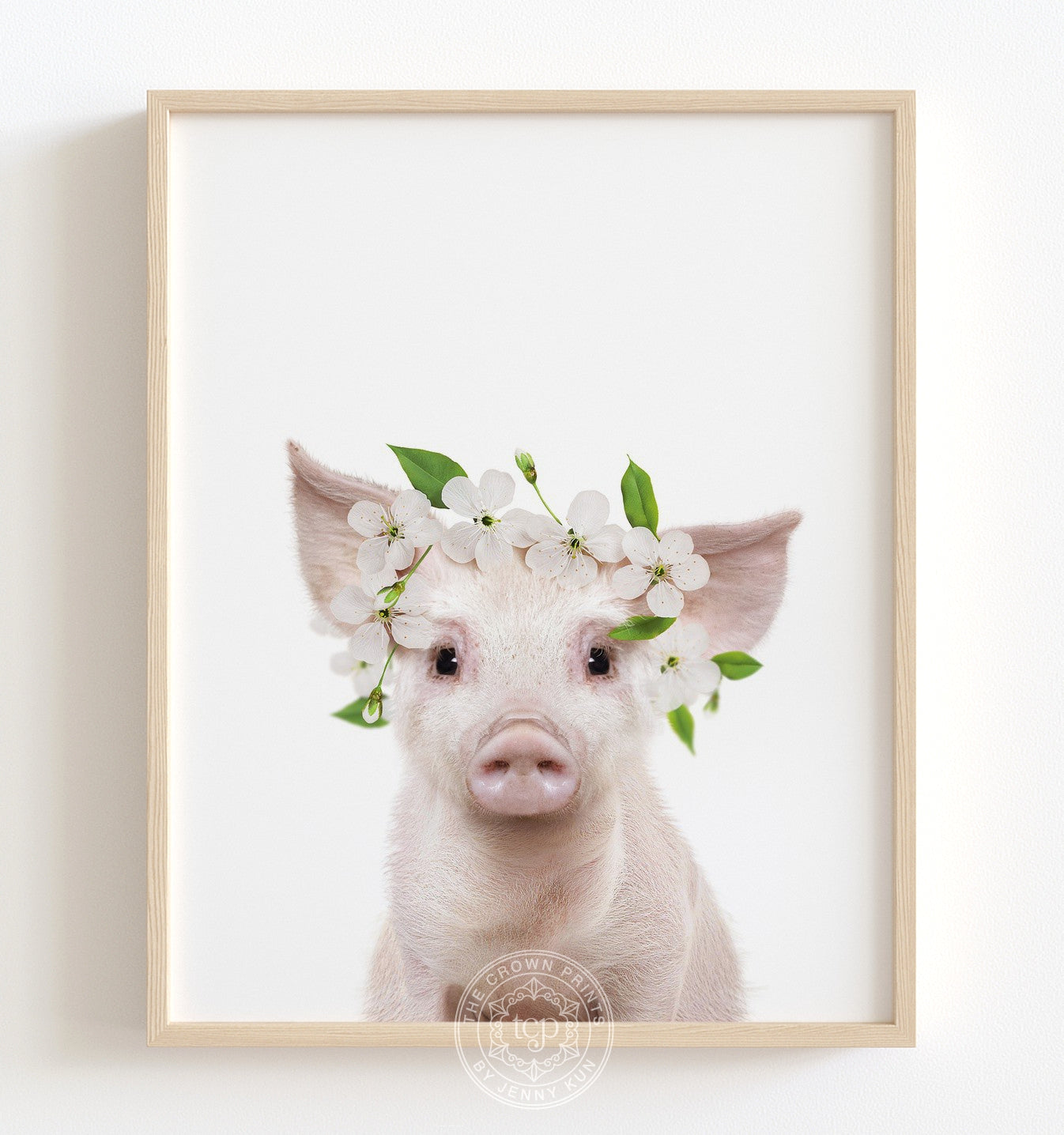 Baby Pig with Flower Crown Printable Art
