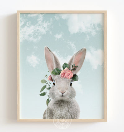 Baby Rabbit with Flower Crown and Blue Sky Printable Art