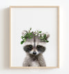 Baby Raccoon with Flower Crown Printable Art