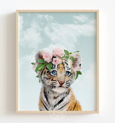 Baby Tiger with Flower Crown and Blue Sky Printable Art