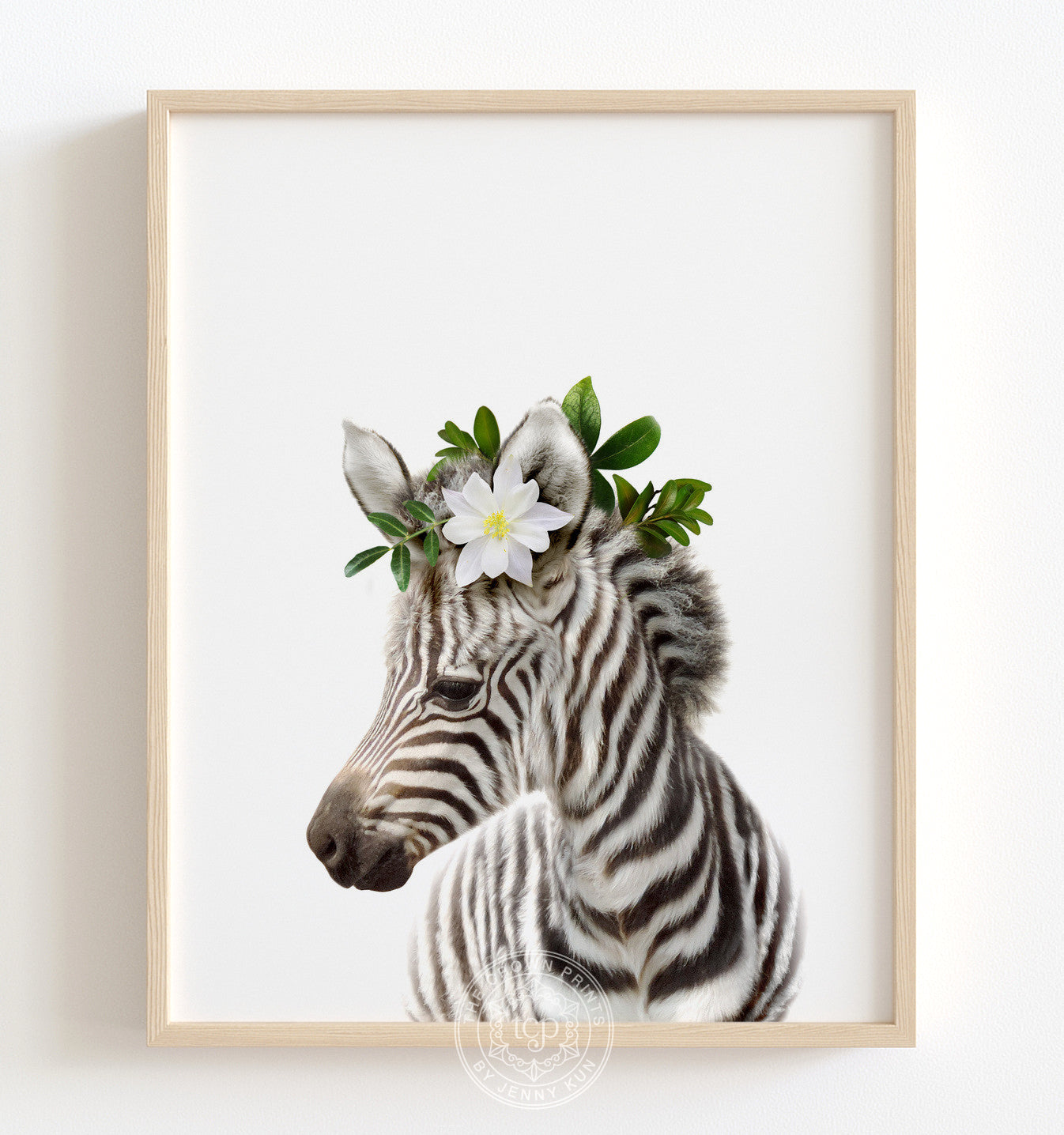 Baby Zebra with Flower Crown Printable Art
