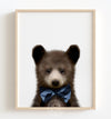 Baby Black Bear with Cornflower Bow Tie Printable Art