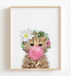Baby Cheetah with Flower Crown and Pink Bubblegum Printable Art