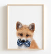 Baby Fox with Cornflower Blue Bow Tie Printable Art