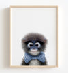 Baby Monkey with Cornflower Blue Bow Tie Printable Art