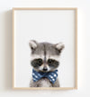 Baby Raccoon with Cornflower Blue Bow Tie Printable Art