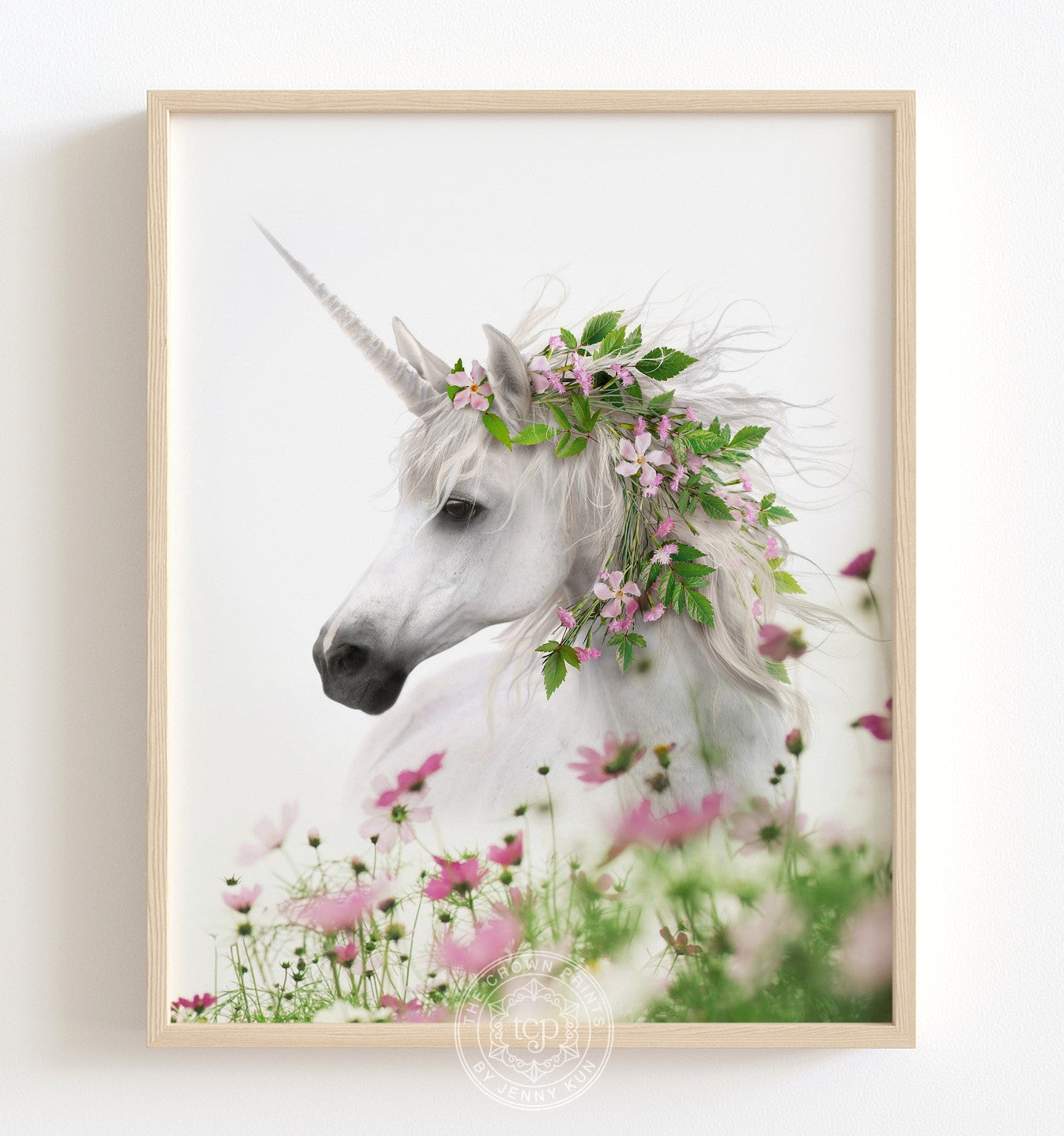 Unicorn with Flower Crown Portrait Printable Art