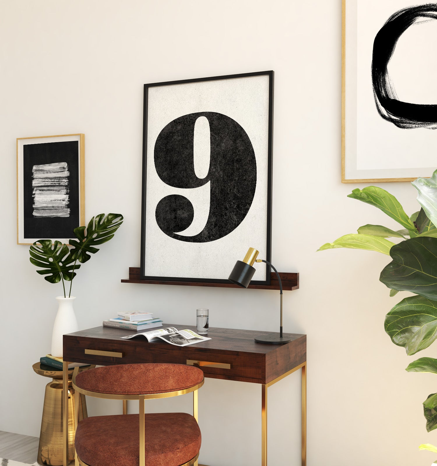 Number Nine Printable Art (White)