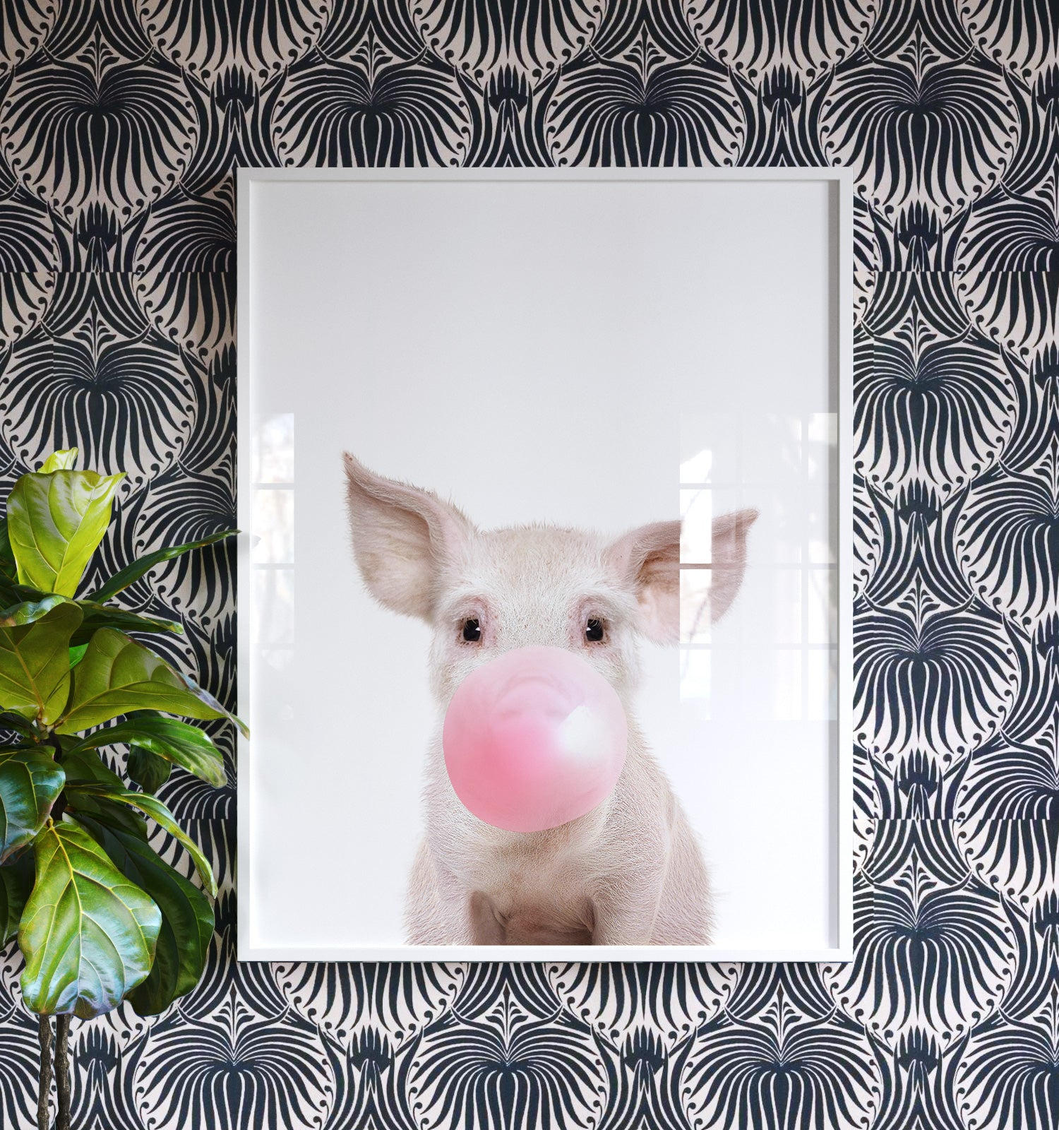 Baby Pig with Bubblegum Printable Art