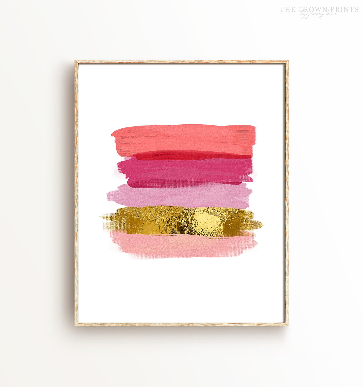 Pink and (Faux) Gold Brushstrokes Printable Art