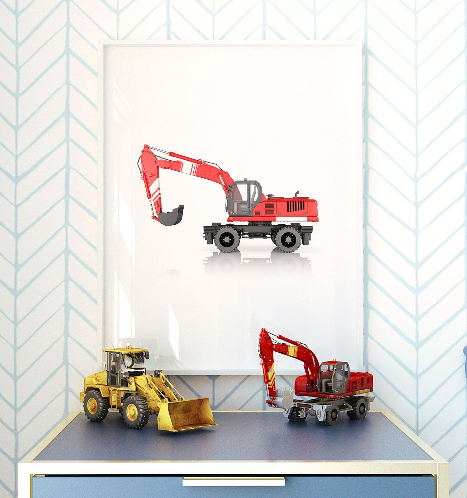 Wheel Excavator Printable Art - Vertical