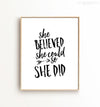 She Believed She Could So She Did Printable Art