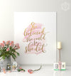 She Believed She Could Printable Art - Pink and Gold Effect