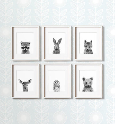 Black and White Woodland Animals - Set of 6 baby animals - The Crown Prints