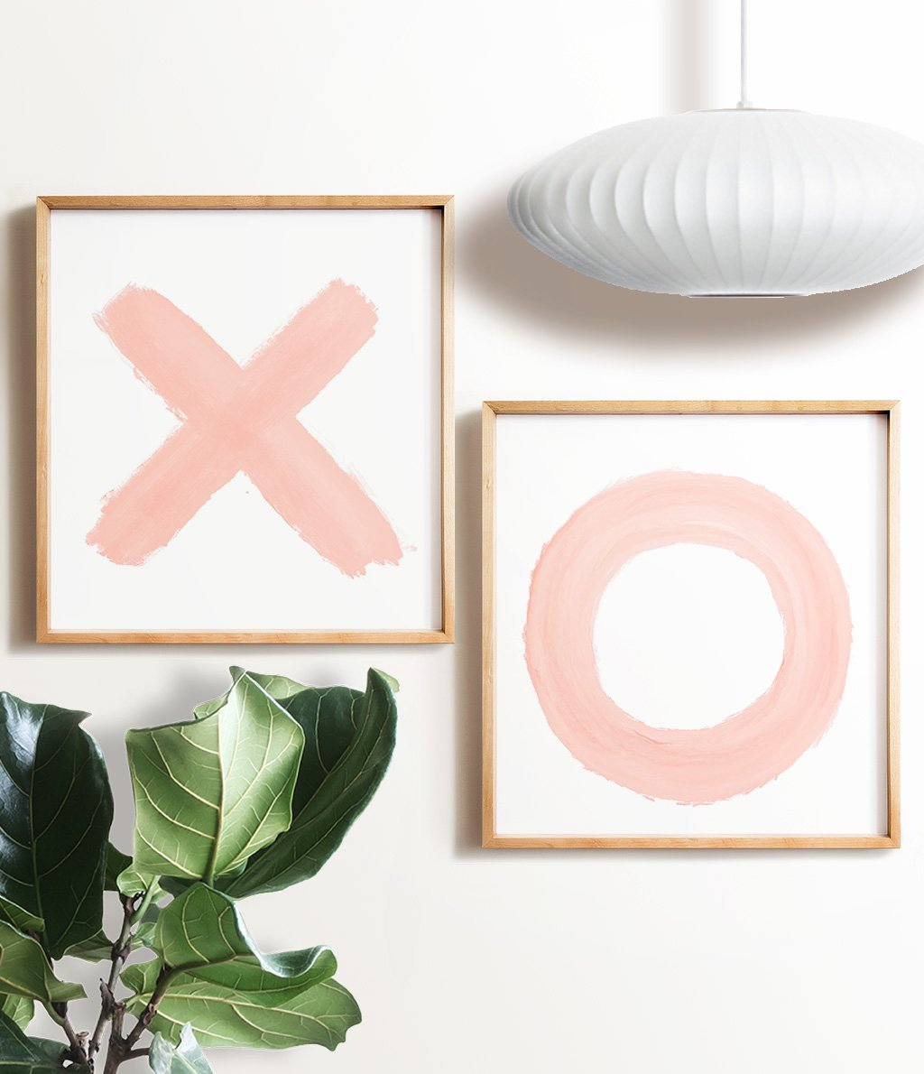 Blush Pink XO Printable Art - set of two