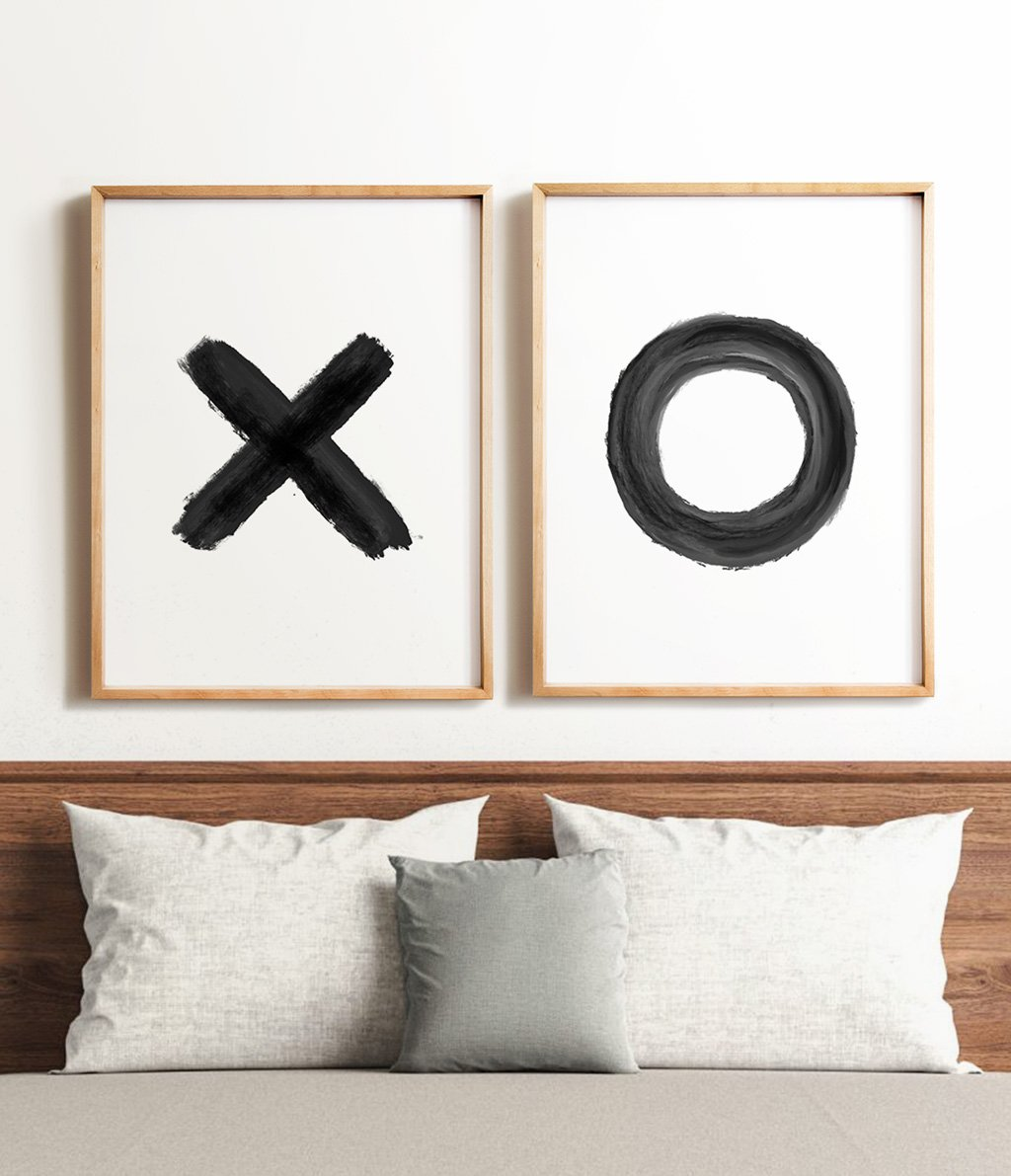 Black and white X and O Printable Art - set of two