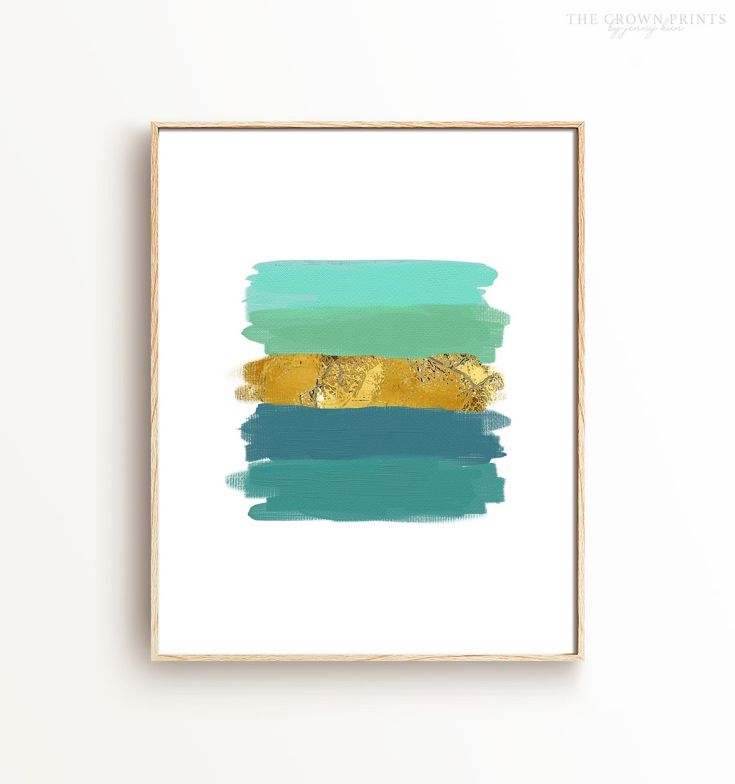 Teal and (Faux) Gold Brushstrokes Printable Art