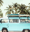 Blue VW Bus with Palm Trees - Horizontal Printable Art