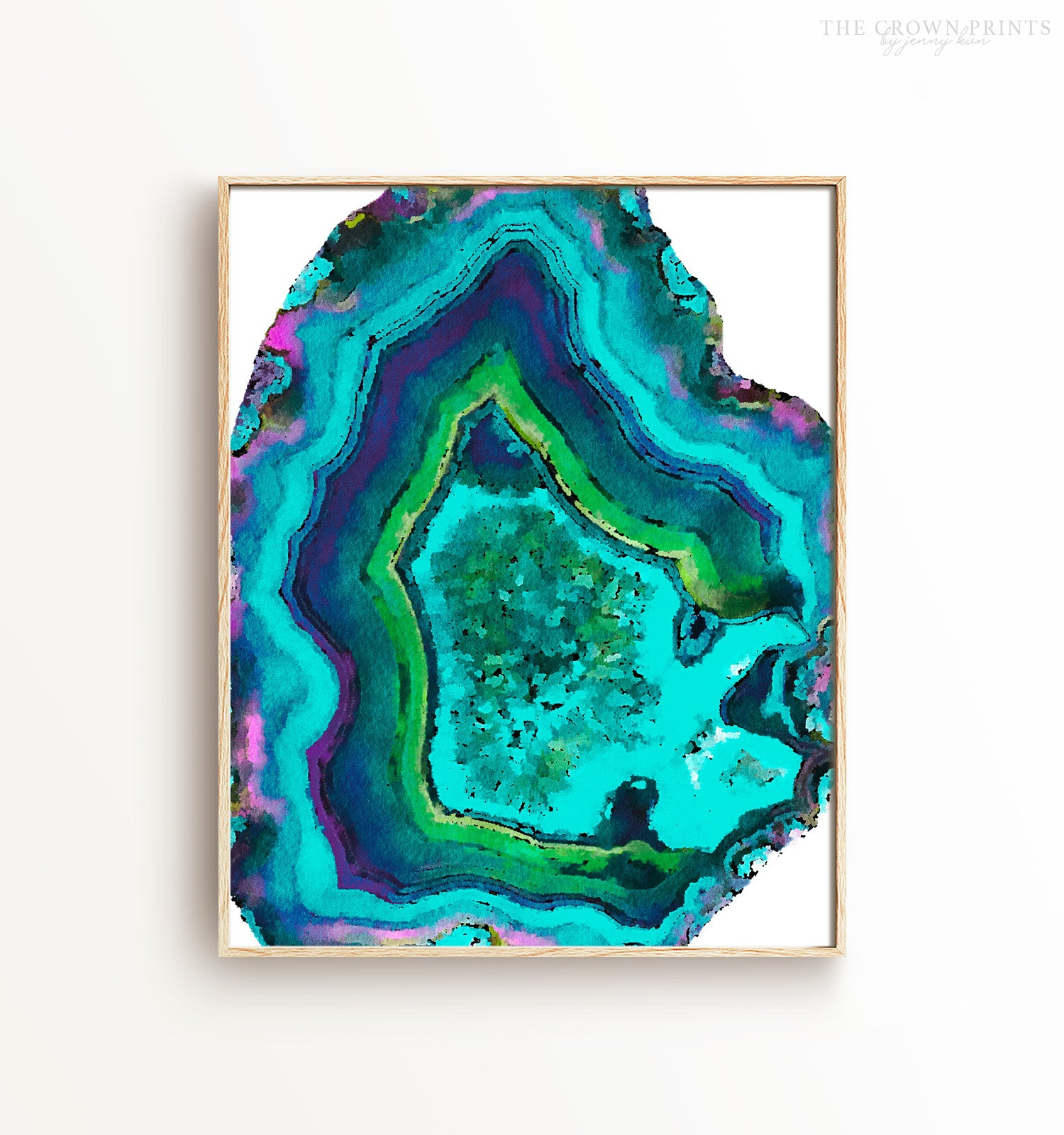 Watercolor teal agate Printable Art