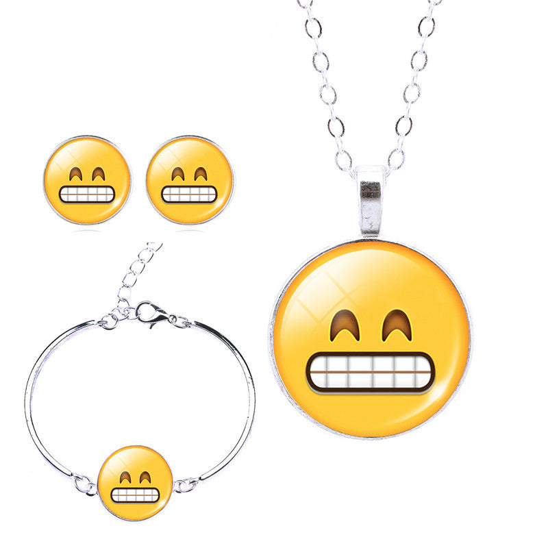 EMOJI JEWELRY- Emoji Bracelet, Necklace, and Earrings Set - CoLyfeRaw Beauty