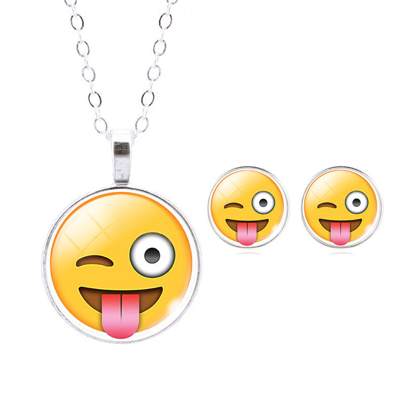 Emoji Jewelry- Emoji NECKLACE, EARRINGS Set- Grab These! - CoLyfeRaw Beauty