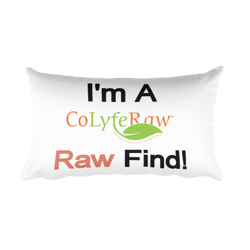 Rectangular Pillow - I'm a RAW Find!  Red - CoLyfeRaw Beauty