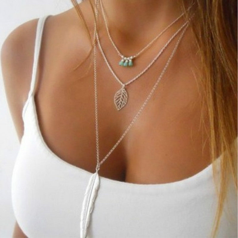 Fatima Hand Multilayer Hammer Chain Lariat Bar Necklace - CoLyfeRaw Beauty